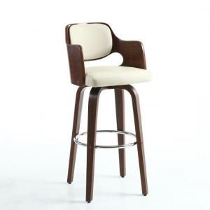 Mcgill Bar Stool In Cream PU And Walnut With Chrome Foot Rest