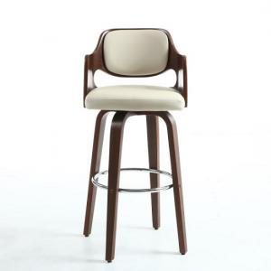 ... Mcgill Bar Stool In Cream PU And Walnut With Chrome Foot Rest_2 ...  sc 1 st  Furniture in Fashion & Leather Bar Stools UK | Breakfast Bar Stools | Furniture in Fashion islam-shia.org