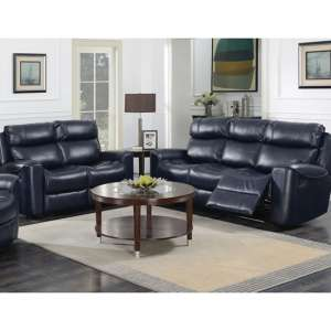 Mebsuta Leather 3 Seater Sofa And 2 Seater Sofa Suite In Navy