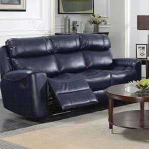 Mebsuta Leather 3 Seater Sofa In Navy