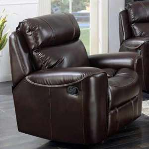 Mebsuta Leather Lounge Chaise Armchair In Chestnut