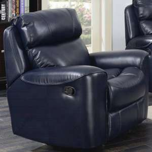 Mebsuta Leather Lounge Chaise Armchair In Navy