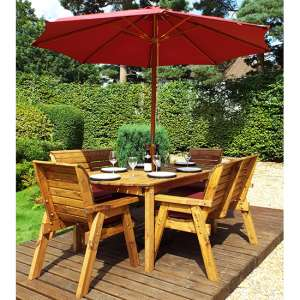 Mecot 6 Seater Dining Set With Parasol In Burgundy