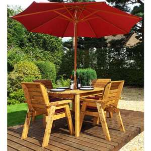 Mecot Rectangular 4 Seater Dining Set With Parasol In Burgundy