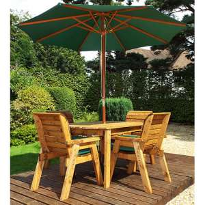 Mecot Rectangular 4 Seater Dining Set With Parasol In Green