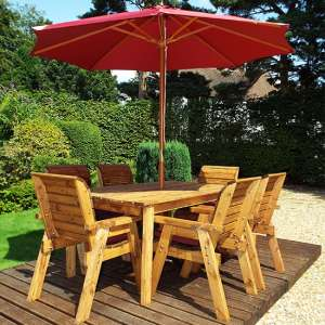 Mecot Rectangular 6 Seater Dining Set With Parasol In Burgundy