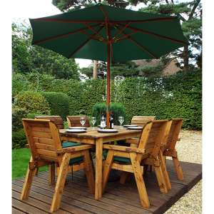 Mecot Rectangular 6 Seater Dining Set With Parasol In Green