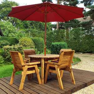 Mecot Round 4 Seater Dining Set With Parasol In Burgundy