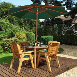 Mecot Round 4 Seater Dining Set With Parasol In Green