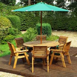 Mecot Round 6 Seater Dining Set With Parasol In Green