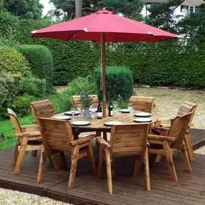 Mecot Round 8 Seater Dining Set With Parasol In Burgundy