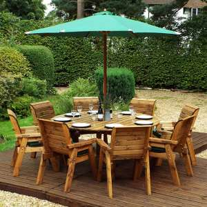Mecot Round 8 Seater Dining Set With Parasol In Green