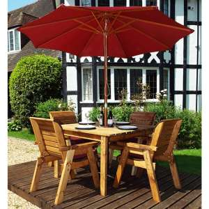Mecot Square 4 Seater Dining Set With Parasol In Burgundy