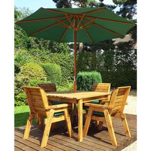 Mecot Square 4 Seater Dining Set With Parasol In Green