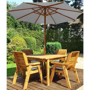 Mecot Square 4 Seater Dining Set With Parasol In Grey