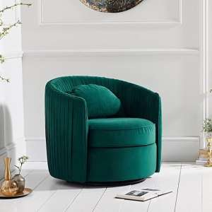 Medan Modern Swivel Sofa Chair In Green Velvet