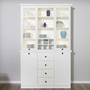 Median Wooden Display Cabinet Wide In White With LED Lighting