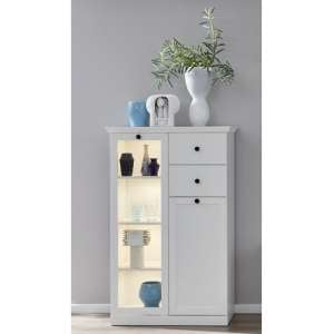 Median Wooden Small Display Cabinet In White With LED Lighting