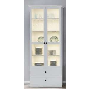 Median Display Cabinet In White With 2 Doors And LED
