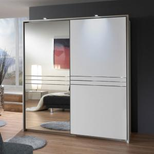 Medeira Sliding Wardrobe In Alpine White With 1 Mirrored Door