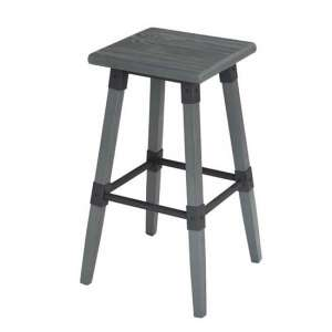 Medlin Wooden Bar Stool In Grey Elm With Steel Frame