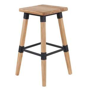 Medlin Wooden Bar Stool In Natural Elm With Steel Frame