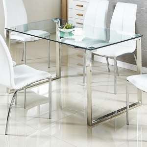 Megan Clear Glass Dining Table With Chrome Legs