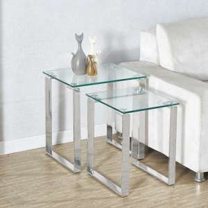 Megan Clear Glass Nest of 2 Tables With Chrome Legs