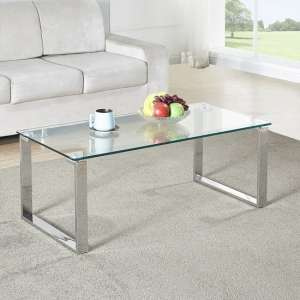 Megan Clear Glass Rectangular Coffee Table With Chrome Legs