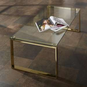 Megan Clear Glass Rectangular Coffee Table With Gold Legs