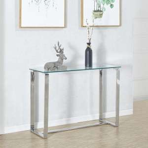 Megan Clear Glass Rectangular Console Table With Chrome Legs
