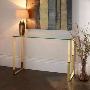 Megan Clear Glass Rectangular Console Table With Gold Legs
