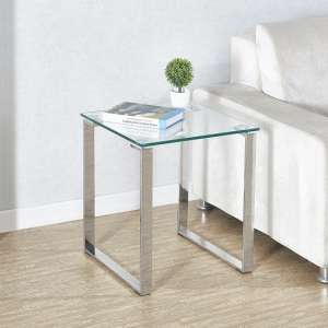 Megan Clear Glass Side Lamp Table With Chrome Legs