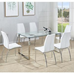 Megan Dining Table In Clear Glass With 6 Opal White Chairs
