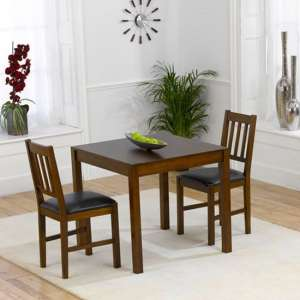 Meissa Dark Dining Set 2 Dark Brown PU Seat Dining Chairs