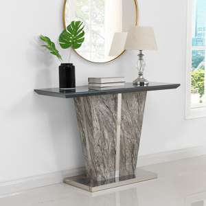 Melange Console Table In Gloss with Grey Glass Top