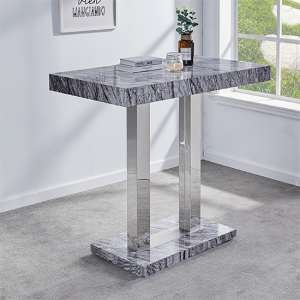 Melange Dark Grey Marble Effect High Gloss Bar Table