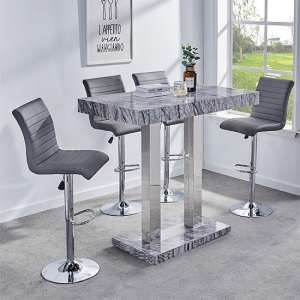 Melange Gloss Marble Effect Bar Table And 4 Ripple Grey Stools