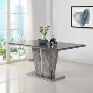 Melange Large Dining Table In Gloss with Grey Glass Top