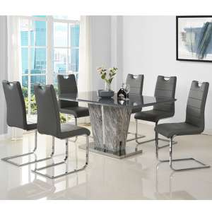 Melange Large Grey Glass Dining Set With 6 Grey Petra Chairs