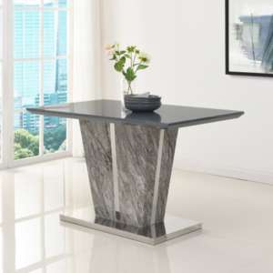 Melange Small Dining Table In Gloss with Grey Glass Top
