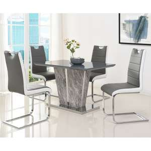 Melange Small Grey Glass Dining Set With 4 Petra Chairs