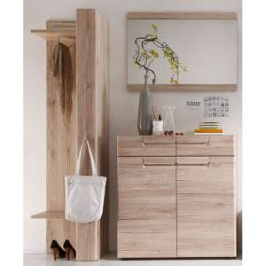 Melay Wooden Hallway Furniture Set 3 In San Remo Light Oak