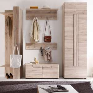 Melay Wooden Hallway Furniture Set 5 In San Remo Light Oak