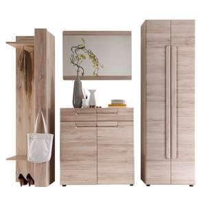 Melay Wooden Hallway Furniture Set 9 In San Remo Light Oak