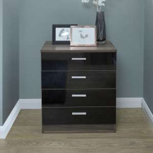 Melbourne Wooden Chest Of Drawers In High Gloss Black And Walnut
