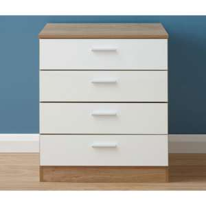 Melbourne Wooden Chest Of Drawers In High Gloss White And Oak