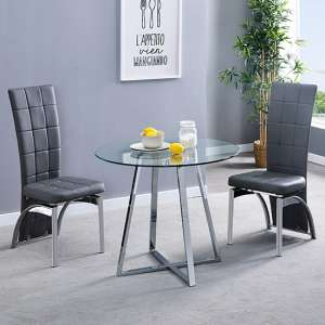 Melito Clear Round Dining Table With 2 Ravenna Grey Chairs