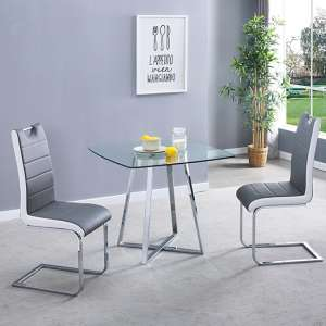 Melito Clear Square Dining Table With 2 Petra Grey White Chairs