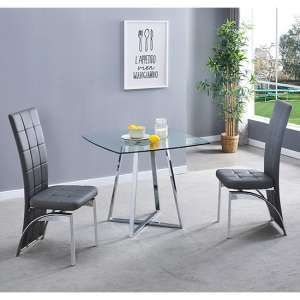 Melito Clear Square Dining Table With 2 Ravenna Grey Chairs